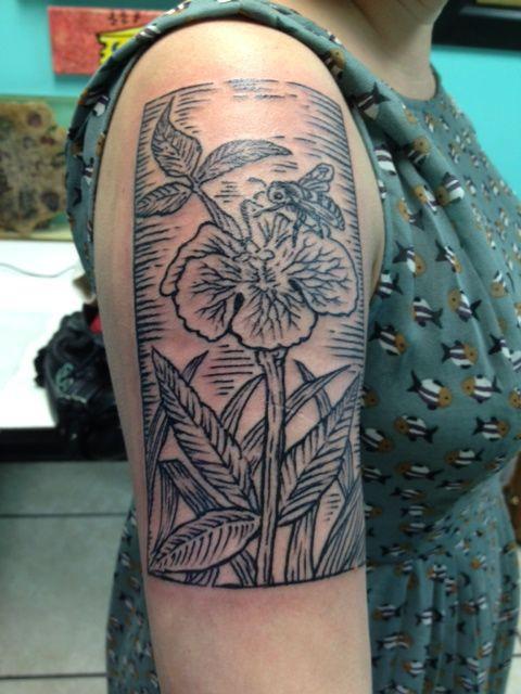 Neptune New Jersey artist  Jenny-Jerkface-woodcut-tattoo    http://blogwaffles.com/?p=848