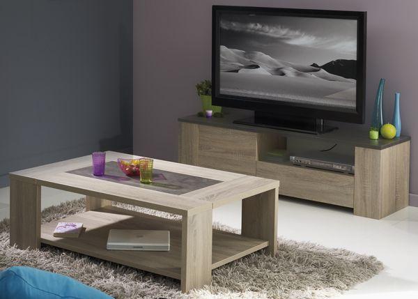 TV   Lowboard Und Couchtisch Jasmin 2tlg. In Zeitloser Eiche Natur  Nachbildung In Kombination Mit
