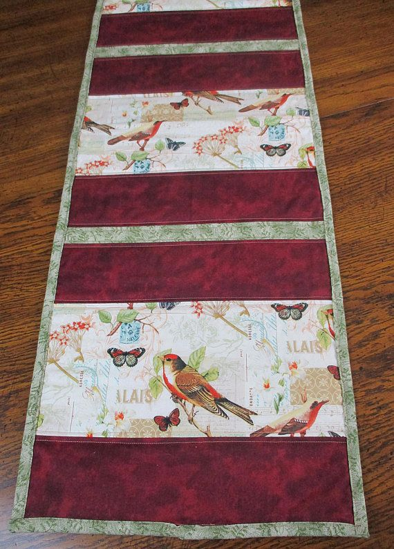 Quilted Table Runner, Bird Table Runner, Nature Table Runner, Home Decor,  Table Linens, Maroon Green