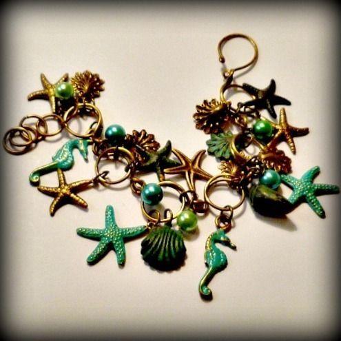 Sea Horses and Starfish Antique Brass Charm Bracelet £30.00