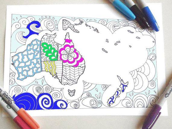 Oceania Map Coloring Australia New Zealand Papua Kids Adult Book Instant Download Travelprintable Print Digital