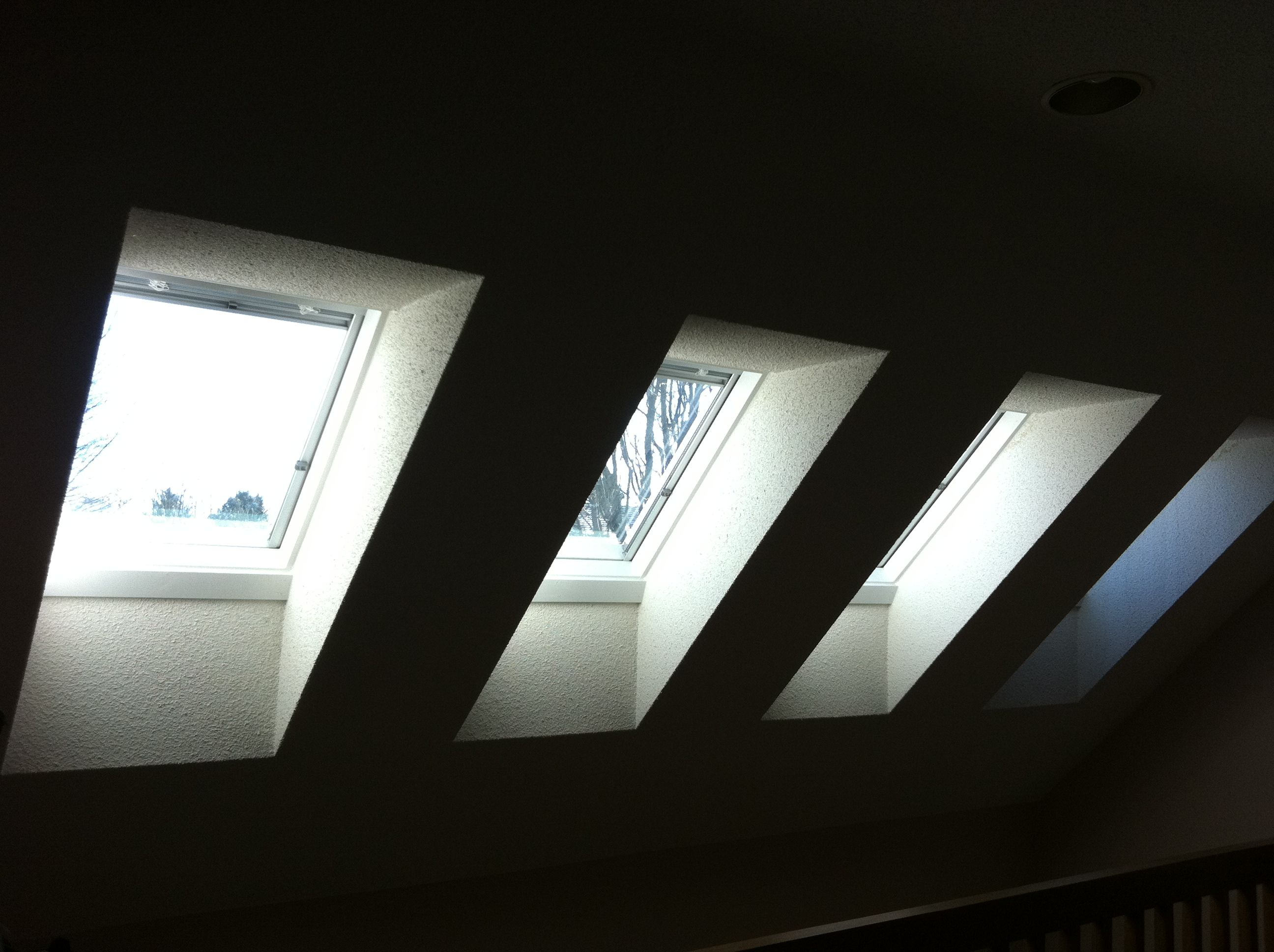 We Retrofit Four VELUX Curb Mounted Skylights Complete With Venetian Blinds To Replace Old Plastic