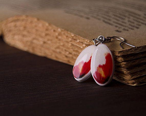 Boucles d'oreilles coquelicot  rouge et blanc  par oceanyork