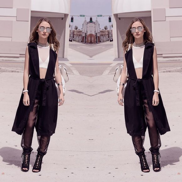 6c7395c44b46 BLACK LONG SLEEVELESS VEST Black Side Pockets String To Tie Around The  Waist 100% Polyester Style Link Miami Jackets & Coats Vests