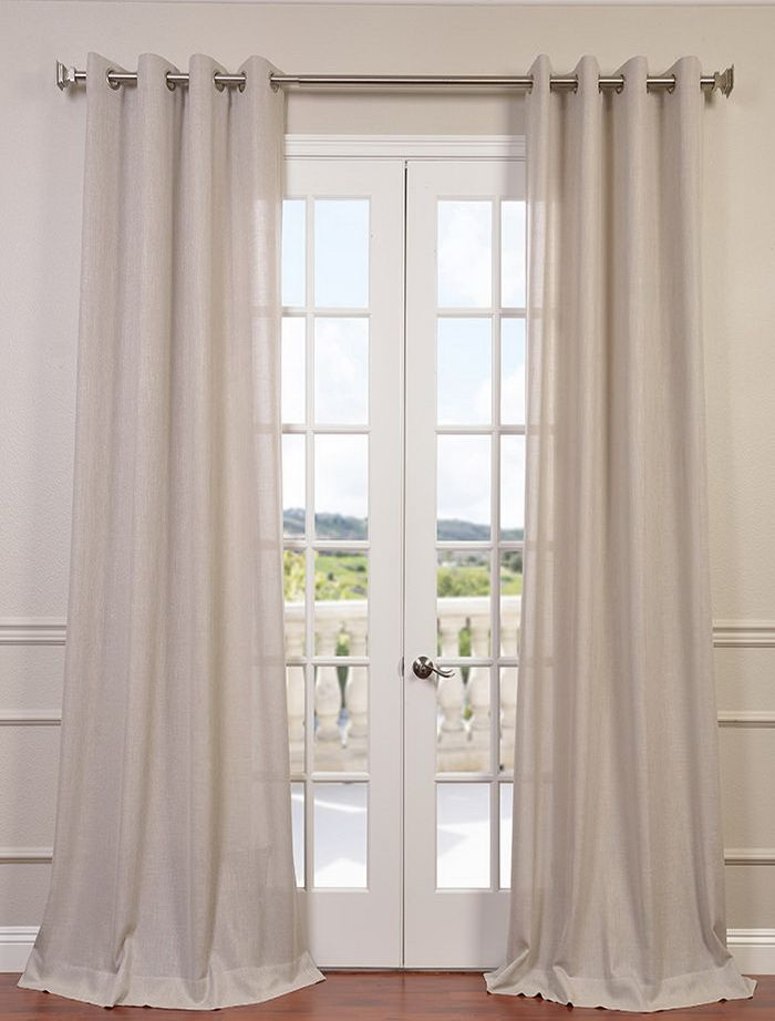 Buy Pebble Rock Faux Linen Grommet Semi Sheer Curtain & Drapes - HalfPriceDrapes