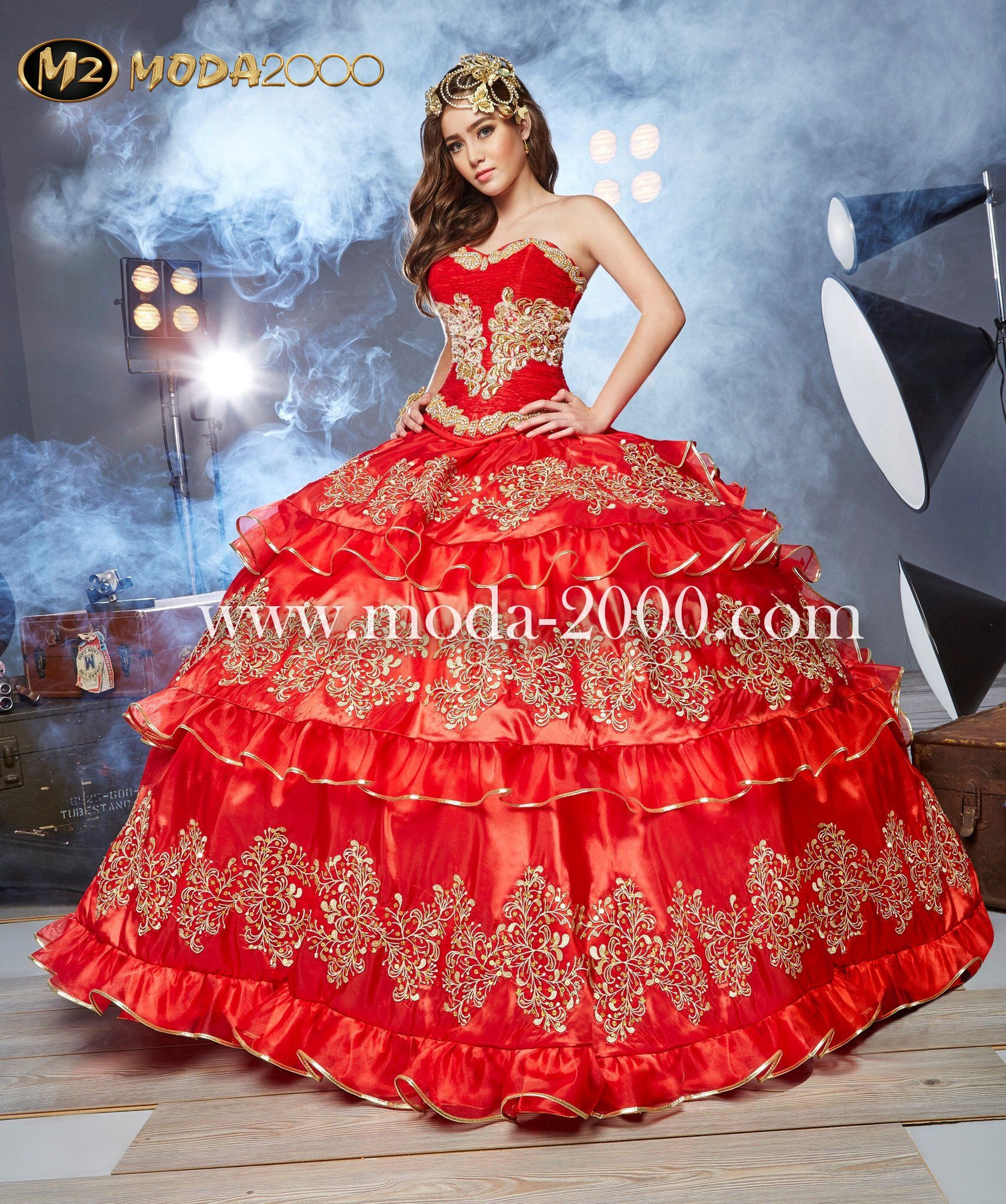 Bejeweled red gold charro quinceanera dress available at