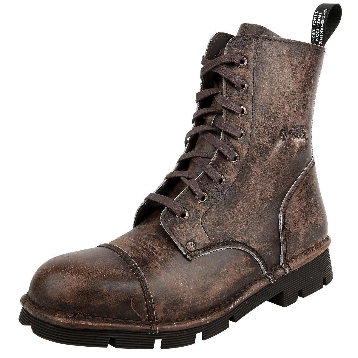 Vintage-Look - Anziehschlaufe - 8-Loch Schnürung Die Mili Vintage Raspado  Marron Stiefel von New Rock sind in einem abgegriffenen braunen Design  gehalten, ...