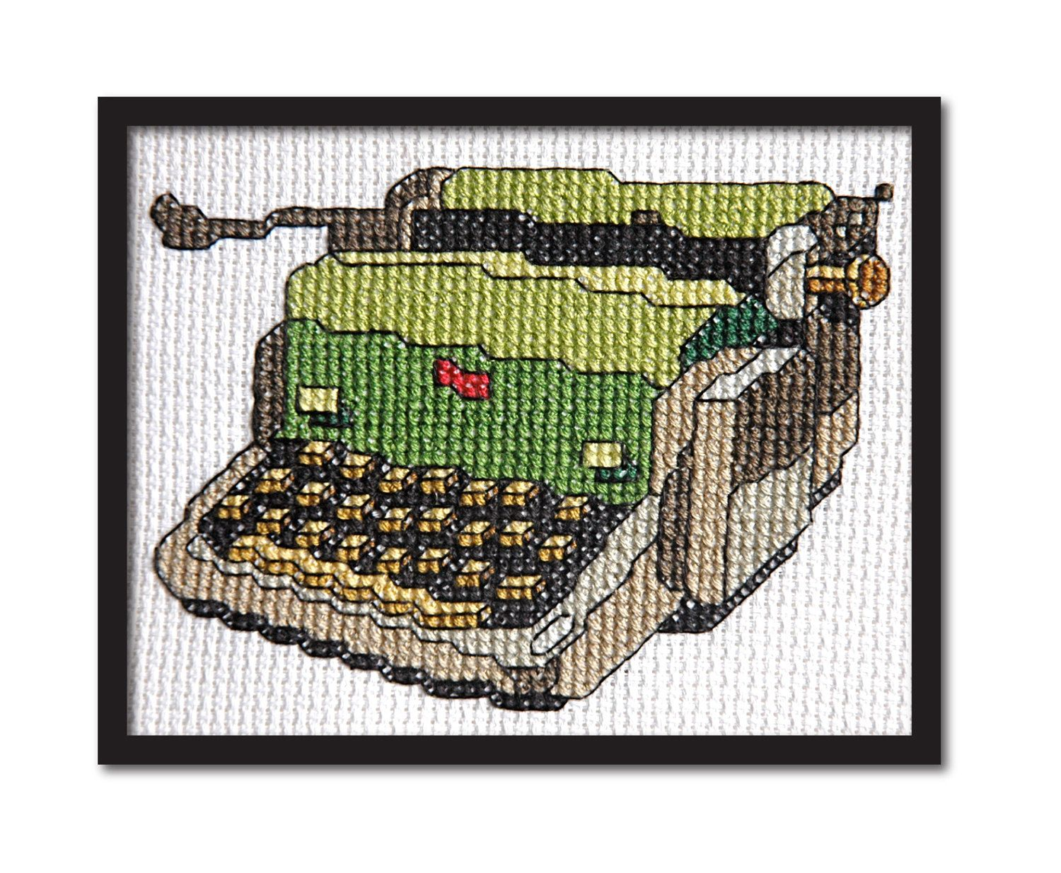 Vintage Olive Green Typewriter. Modern Cross Stitch Pattern PDF.. $5.00, via Etsy.