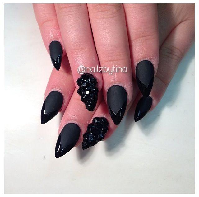 Matte Black Stiletto Nails | Nails | Pinterest | Black stilettos ...