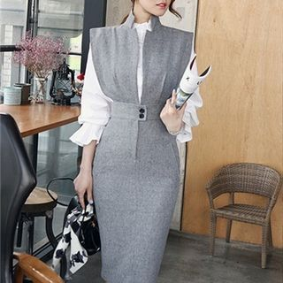 Photo of Buy Aurora Open-Front Pencil Dress at YesStyle.com! …