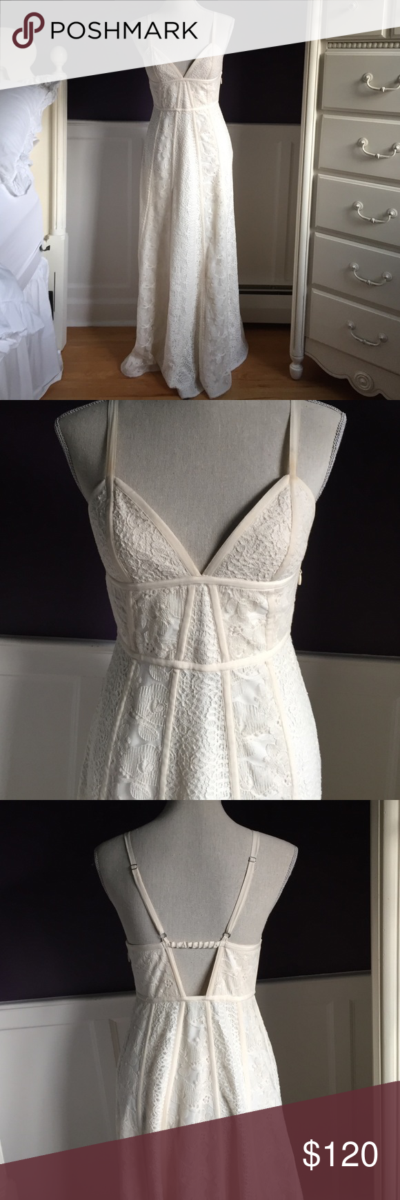 BCBG MAXAZRIA Cream lace gown BCBG MAXAZRIA Cream lace gown with spaghetti straps. Great for a bridal or prom dress. Only worn once. Slight makeup on straps that will come out at dry cleaner. Size: 6. Feel free to message me with any questions or make me an offer! BCBGMaxAzria Dresses