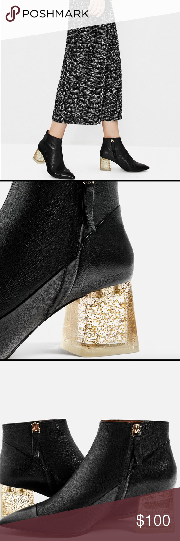 aed2a2cfa482 NWT Zara Leather Ankle Boot With Methacrylate Heel Black leather ankle  boots with transparent sparkly methacrylate heel detail. Pointed toe.