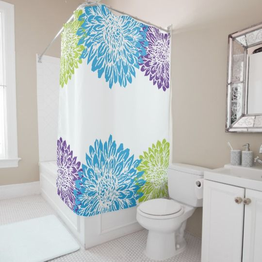 Aqua Blue And Lilac Purple Custom Shower Curtain Modern Ombre