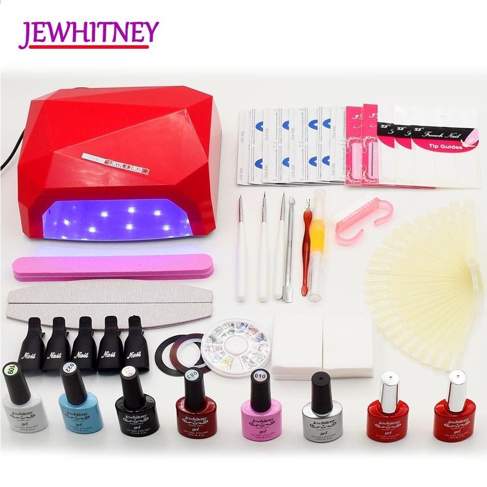 Jewhiteny 6 Farg Uv Gel Polish Nagelsett 36w Nail Dyrer Uv Led Lampa Manikyr Kit Nail Art Diy Verktyg Set Kit Nagel Gel Set Nail Art Diy Manicure Kit Nail Art