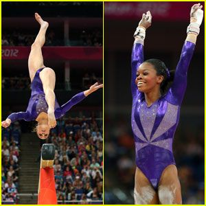 Gabby Douglas and Jordyn Wieber at Olympic Qualifying round