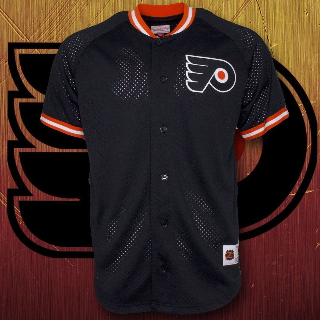 the latest 70013 47ac8 Philadelphia Flyers Black and Orange Mesh Button Jersey ...