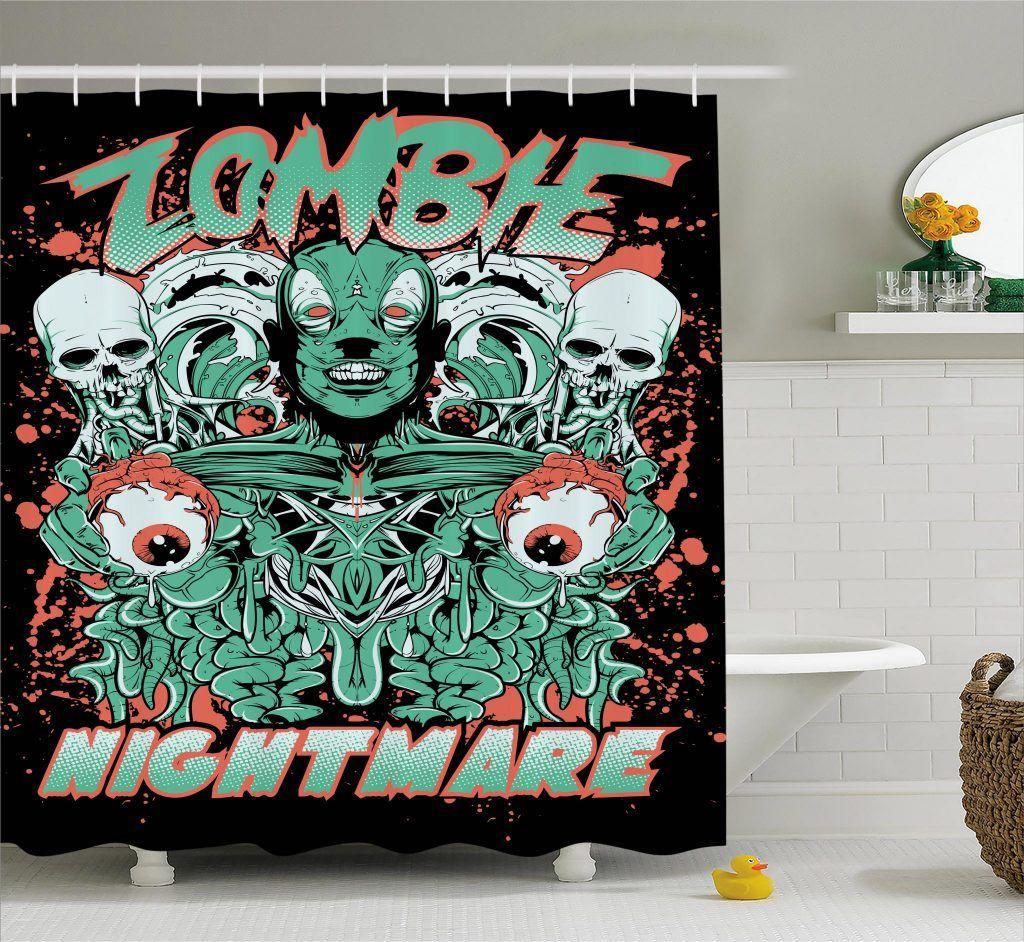 Retro Skulls Ghost Shower Curtain Curtains Shower Retro