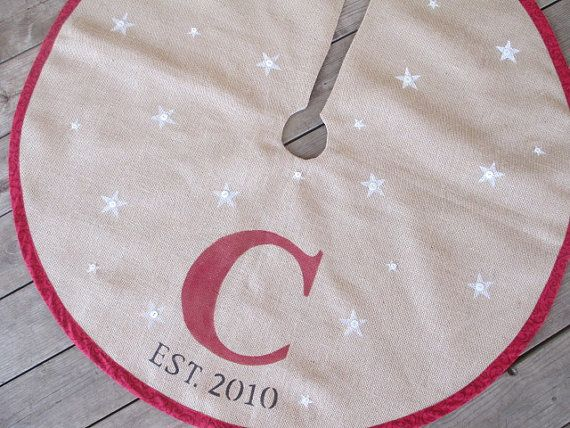 Monogram Burlap Christmas Tree Skirt With Stars By FromOldStuff