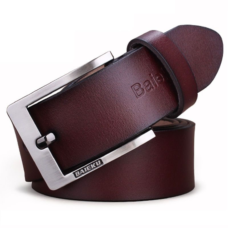 New Men/'s Genuine Cow Leather Waistband Waist Belt Strap Girdle Smooth Buckle