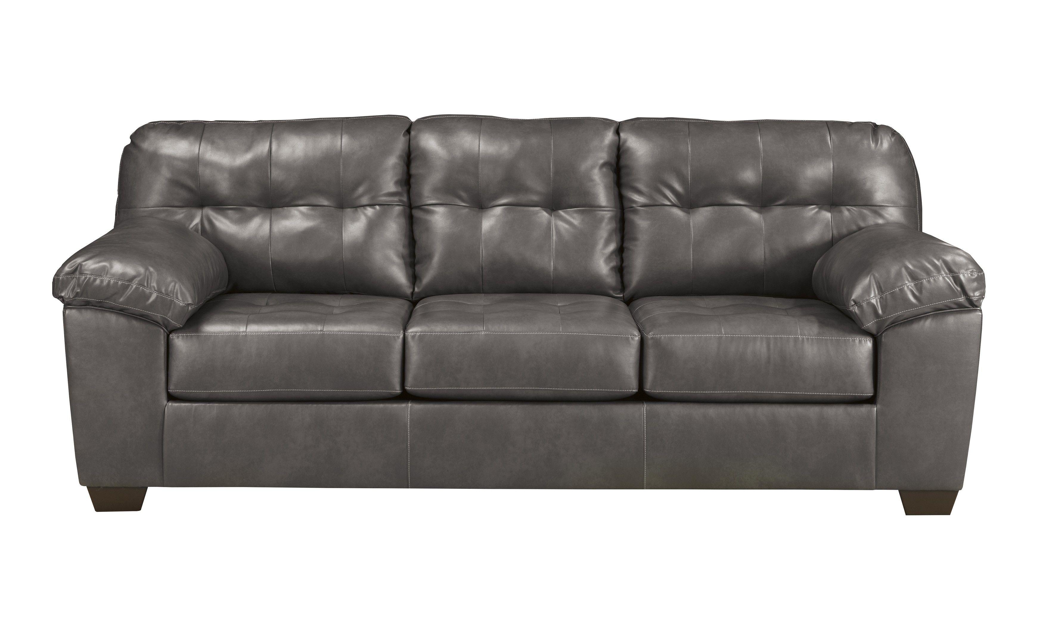Alliston durablend gray queen sleeper sofa faux leather