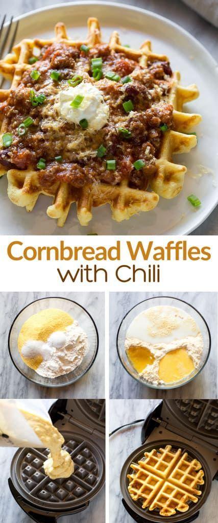 Cornbread Waffles with Chili
