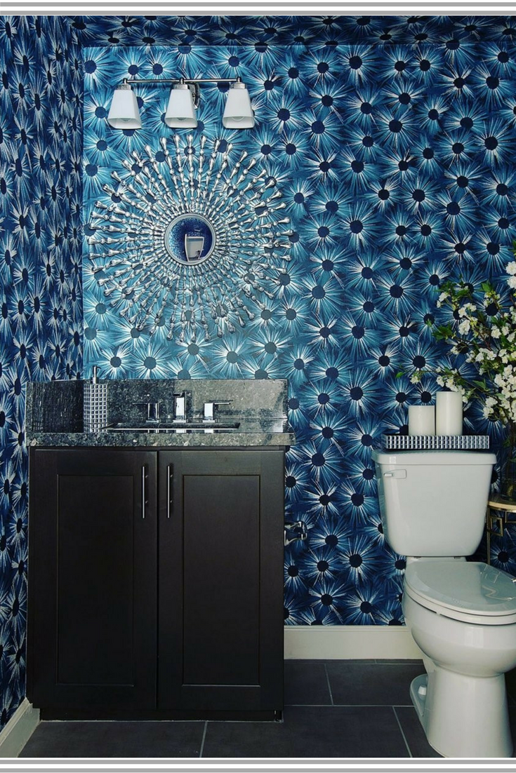 Looking for bold blue walls? Check out this eclectic blue wallpaper ...
