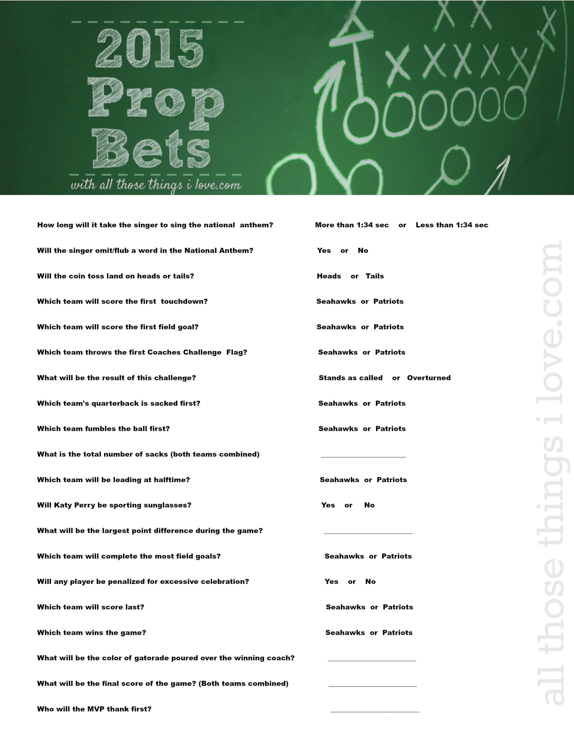 It is an image of Playful Prop Bets Super Bowl 2020 Printable