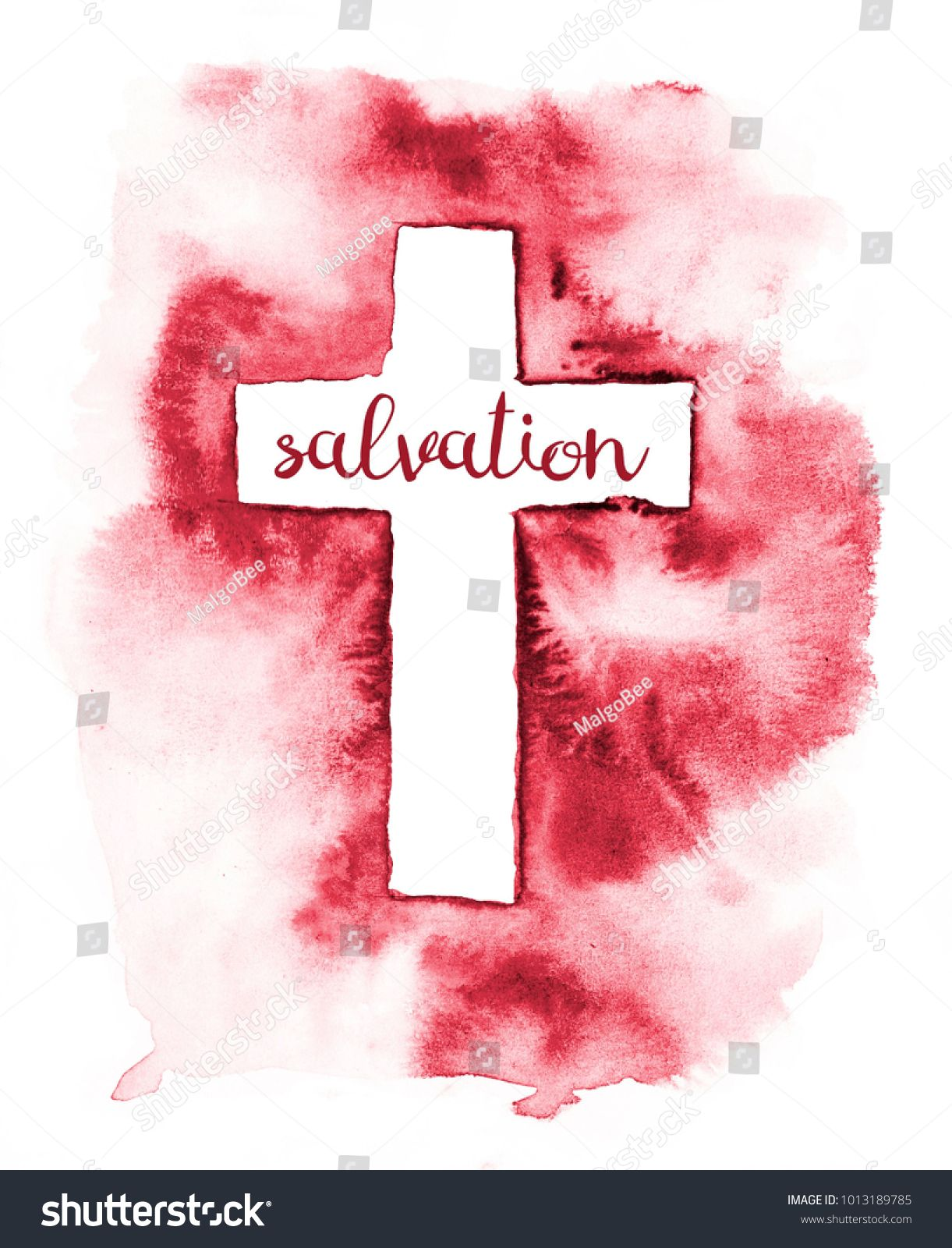 The colorful watercolor illustration of a white cross on red ...