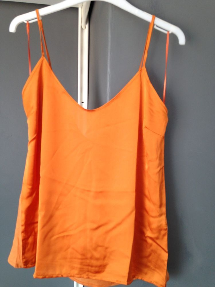 216abf8a2435c New Womens Orange Satin Camisole Top Vest Top ZARA BNWT
