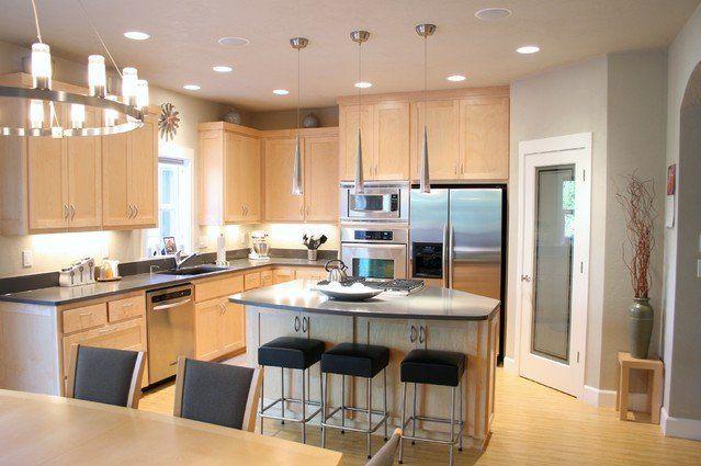 Grey Blonde Wood Cabinets 3cm Countertops Stools Kitchen Island Kitchen Design Maple Kitchen Cabinets Modern Maple Kitchen