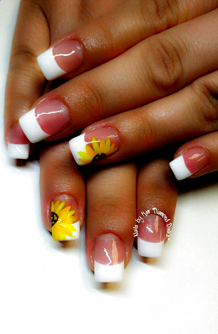 Sunflower Nails In 2020 Sunflower Nails Acrylic Nails Coffin Pink Summer Acrylic Nails
