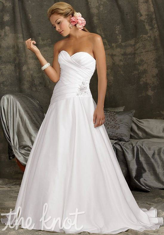 Gown features beading. Available with zipper or lace-up back ...
