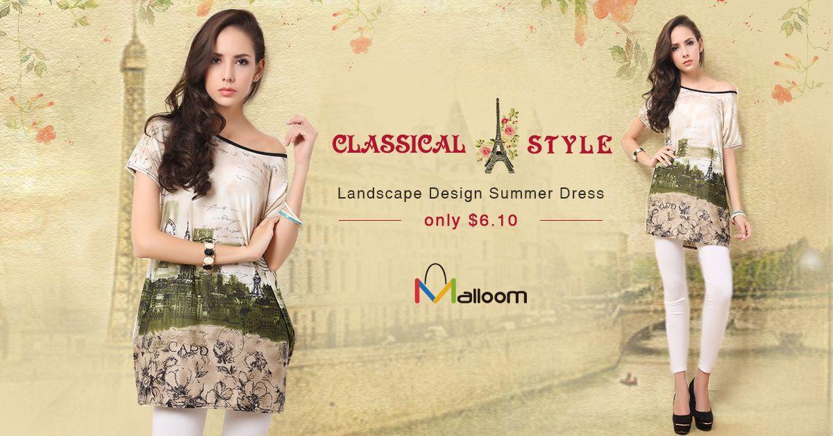 Women Ladies Casual Loose Short Sleeve Landscape Design Summer Dress