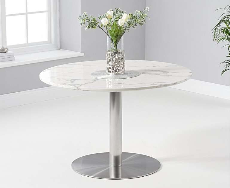 Bali 120cm Round White Marble Dining Table With Tarin Dining