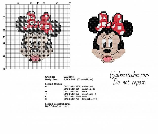 Minnie Mickey Mouse cartoon character free small cross stitch ...