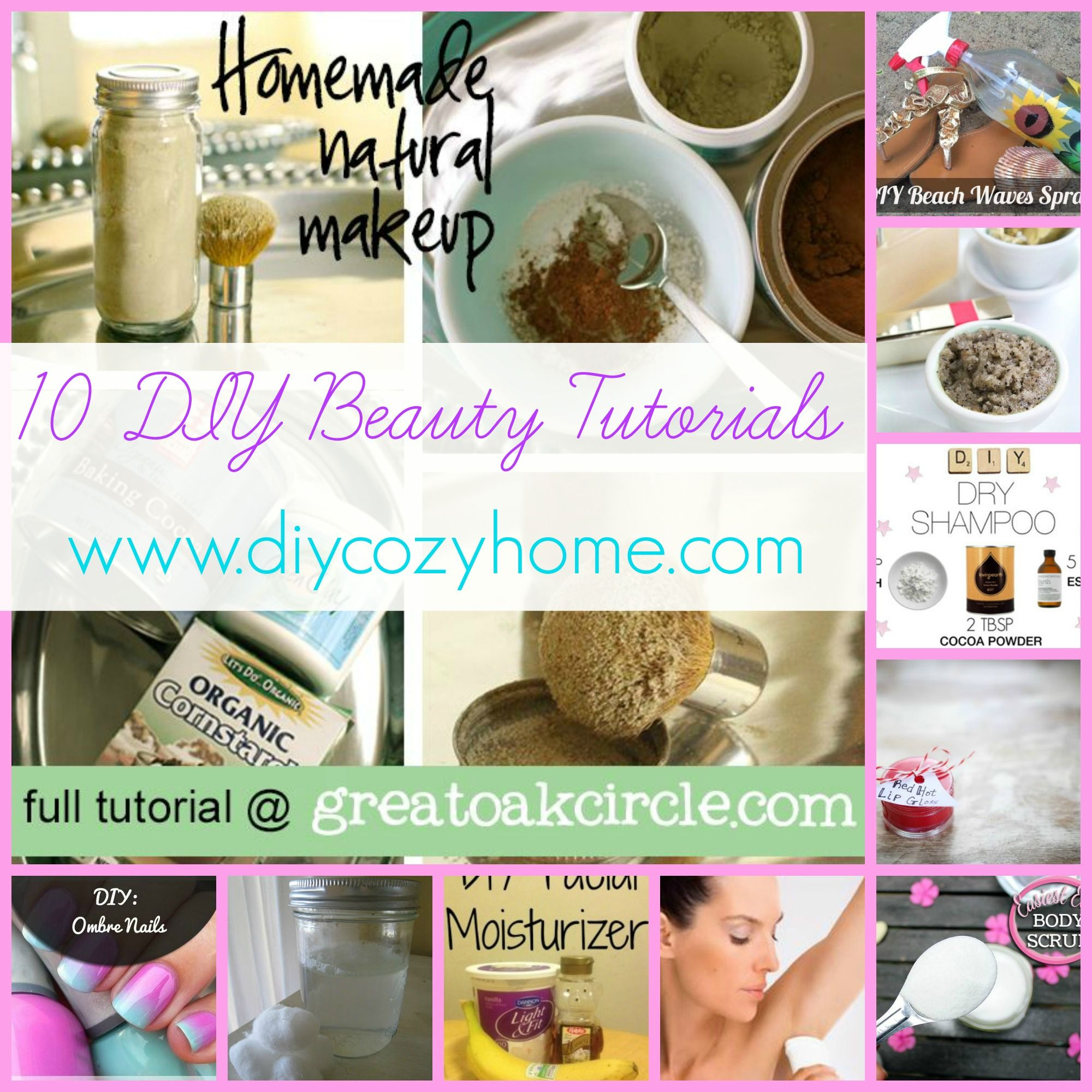 10 DIY Beauty Tutorials is part of Diy beauty tutorials, Beauty tutorials, Homemade beauty products, Diy beauty hacks, Homemade beauty, Diy beauty - Don't miss out! Follow DIYcozyHome com on Facebook and bring more love and life into your home  Beauty care products can be SO expensive  So, today I am sharing with you 10 DIY beauty tutorials  From make up, to Facials, shampoo  A little of everything  I hope you enjoy! 1  DIY Dry Shampoo 2  DIY Eye Makeup remover 3  All Natural Makeup 4  DIY Ombre Nails 5  DIY Deodorant 6  DIY Facial Moisturizer 7  DIY Lip Gloss 8  Easiest ever Body Scrub 9  DIY Beach Waves Spray 10  DIY Cinnamon
