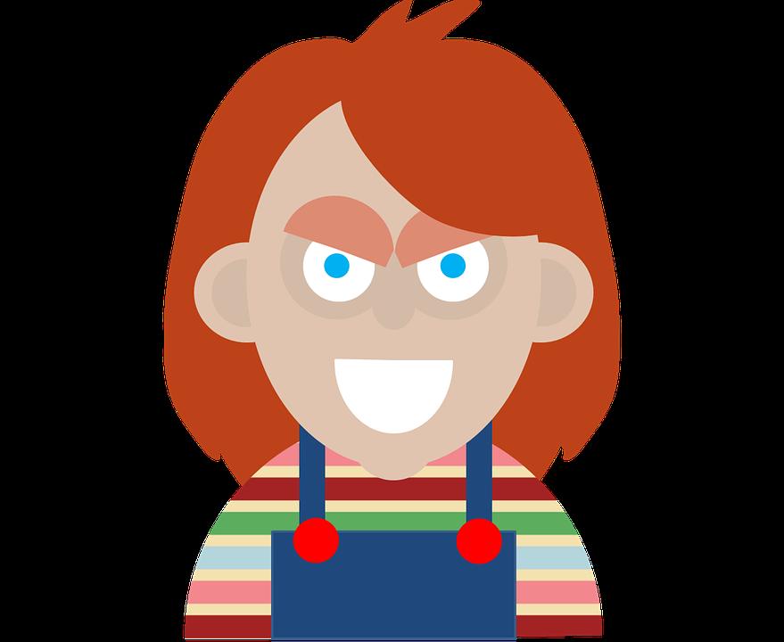 Chucky Clipart Black And White: Halloween, Personaje De Terror, Chucky, Ilustración