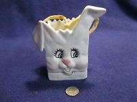 Happy White Bunny Rabbit Bag Sack Easter Flower Pot Planter Holland Floral