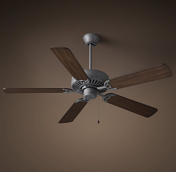 Rhs bistro ceiling fan galvanized steelinspired by the fans that rotate lazily in countless french bistros our wood and metal reproduction has a