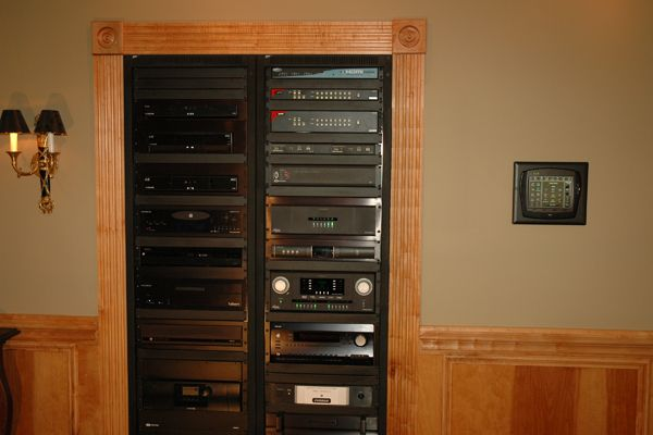 home av system design. Home Theater in Wall Rack  Audio Video Component Entertainment Technology
