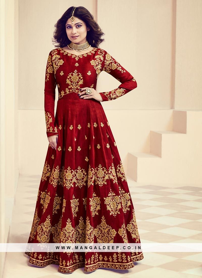Long Beautiful Maroon Color Anarkali Suit In Silk Fabric red