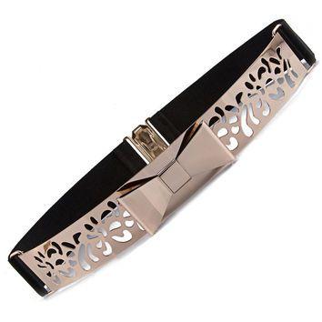 Women Metal Hollow Out Waist Belt Fashion Bow Female Waistband Design Style Lady Fashion Belts For Women