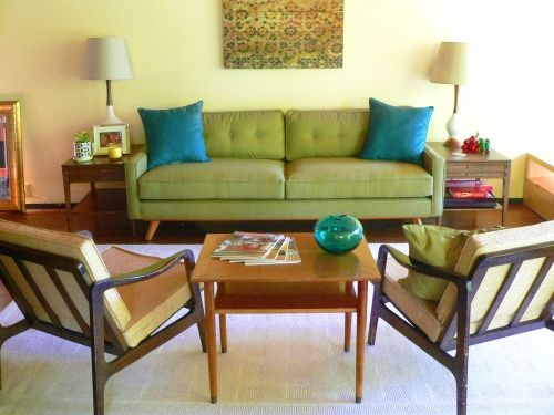 green sofa before and after mid century modern love mid century modern inspiration. Black Bedroom Furniture Sets. Home Design Ideas