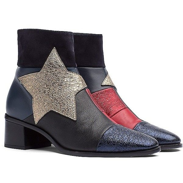 03a7add827 Tommy Hilfiger Patch Star Glitter Ankle Bootie (535 CAD) ❤ liked on  Polyvore featuring shoes, boots, ankle booties, tommy hilfiger booties, ...