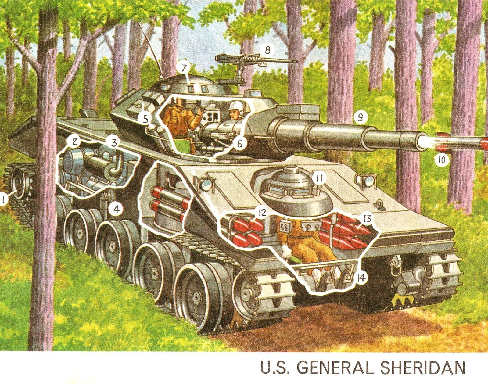Us General Sheridan Tank Cutaway Cutaways Pinterest Merkava Schematic