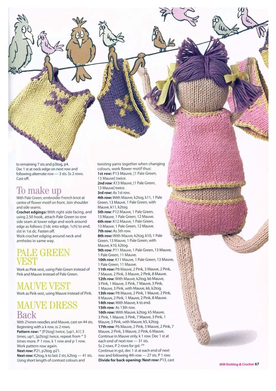 Knitted Doll\'s Clothes with English Pattern - Free! | Barbie doll ...