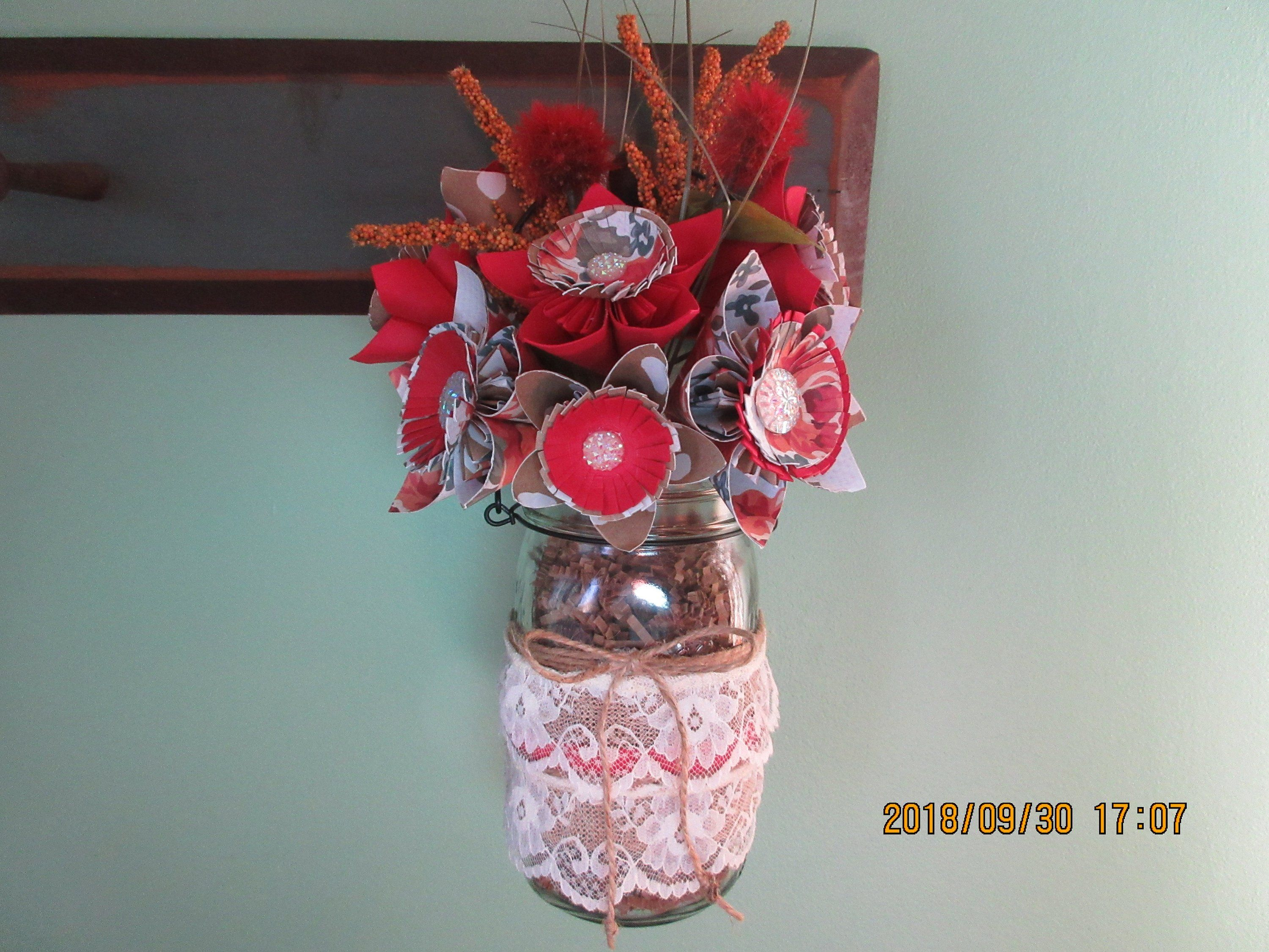 Paper Flowers With Decorated Mason Jar Fall Origami Flowers