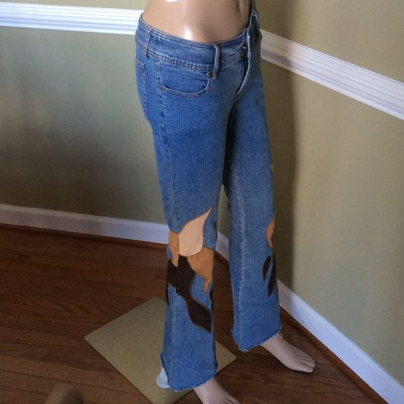 One Tuff Babe Jean OTB BoHo jeans Vintage look some wear  on suede good condition  just a cute pair of jeans shown in picture 3 OTB Jeans