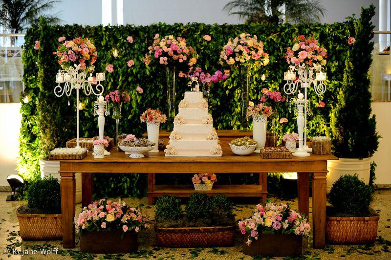 Decoração de Casamento Mesa de Bolo colorido