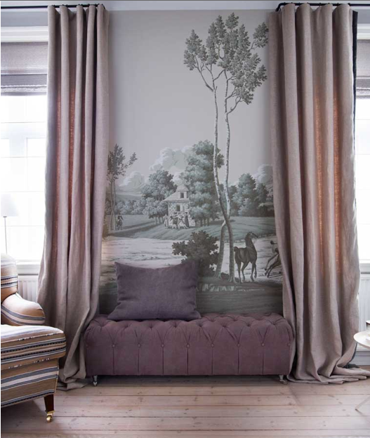 beautiful purple and grey room from a house in Norway. custom mural on wall. purple tufted bench, striped chair. Norwegian Classic Scandinavian design